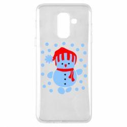 Чехол для Samsung A6+ 2018 Снеговик в шапке - FatLine