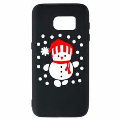 Чехол для Samsung S7 Снеговик в шапке - FatLine