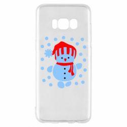 Чехол для Samsung S8 Снеговик в шапке - FatLine