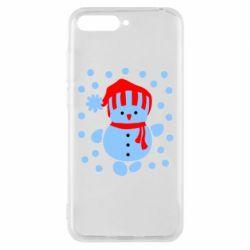 Чехол для Huawei Y6 2018 Снеговик в шапке - FatLine