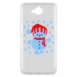 Чехол для Huawei Y6 Pro Снеговик в шапке - FatLine