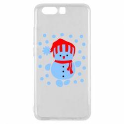 Чехол для Huawei P10 Снеговик в шапке - FatLine