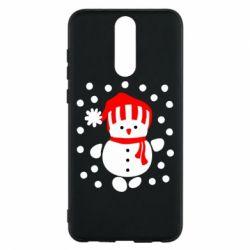 Чехол для Huawei Mate 10 Lite Снеговик в шапке - FatLine