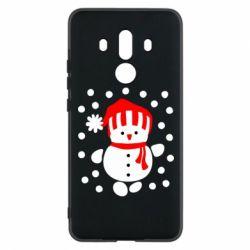 Чехол для Huawei Mate 10 Pro Снеговик в шапке - FatLine