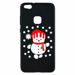 Чехол для Huawei P10 Lite Снеговик в шапке - FatLine