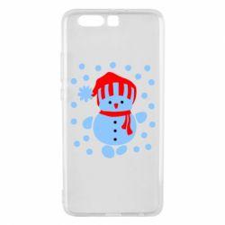 Чехол для Huawei P10 Plus Снеговик в шапке - FatLine