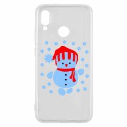 Чехол для Huawei P20 Lite Снеговик в шапке - FatLine