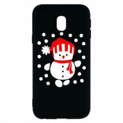 Чехол для Samsung J3 2017 Снеговик в шапке - FatLine