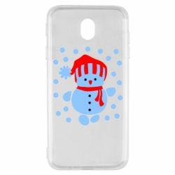 Чехол для Samsung J7 2017 Снеговик в шапке - FatLine