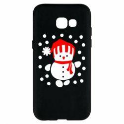 Чехол для Samsung A5 2017 Снеговик в шапке - FatLine