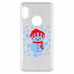 Чехол для Xiaomi Redmi Note 5 Снеговик в шапке - FatLine
