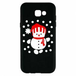 Чехол для Samsung A7 2017 Снеговик в шапке - FatLine
