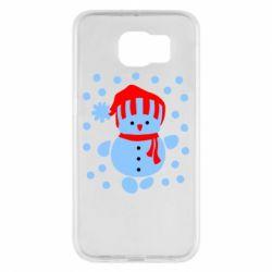 Чехол для Samsung S6 Снеговик в шапке - FatLine