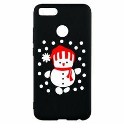 Чехол для Xiaomi Mi A1 Снеговик в шапке - FatLine