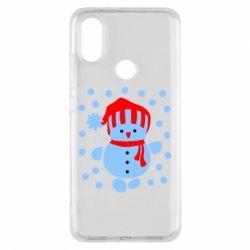 Чехол для Xiaomi Mi A2 Снеговик в шапке - FatLine