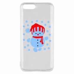 Чехол для Xiaomi Mi6 Снеговик в шапке - FatLine