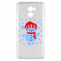 Чехол для Xiaomi Redmi 4 Снеговик в шапке - FatLine