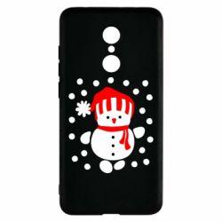 Чехол для Xiaomi Redmi 5 Снеговик в шапке - FatLine