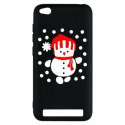 Чехол для Xiaomi Redmi 5a Снеговик в шапке - FatLine