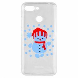Чехол для Xiaomi Redmi 6 Снеговик в шапке - FatLine