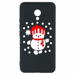 Чехол для Meizu M5 Снеговик в шапке - FatLine
