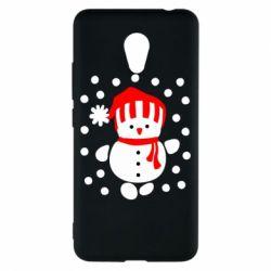 Чехол для Meizu M5c Снеговик в шапке - FatLine