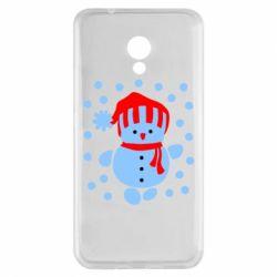 Чехол для Meizu M5s Снеговик в шапке - FatLine