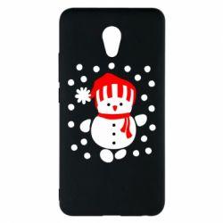 Чехол для Meizu M5 Note Снеговик в шапке - FatLine