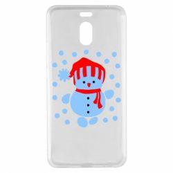 Чехол для Meizu M6 Note Снеговик в шапке - FatLine
