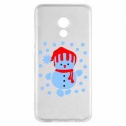 Чехол для Meizu Pro 6 Снеговик в шапке - FatLine