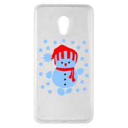 Чехол для Meizu Pro 6 Plus Снеговик в шапке - FatLine