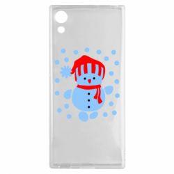 Чехол для Sony Xperia XA1 Снеговик в шапке - FatLine