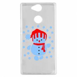 Чехол для Sony Xperia XA2 Снеговик в шапке - FatLine