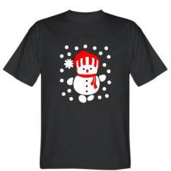 Мужская футболка Снеговик в шапке - FatLine
