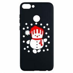 Чехол для Huawei P Smart Снеговик в шапке - FatLine