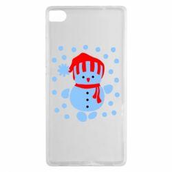 Чехол для Huawei P8 Снеговик в шапке - FatLine