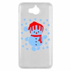 Чехол для Huawei Y5 2017 Снеговик в шапке - FatLine