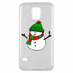 Чехол для Samsung S5 Снеговик