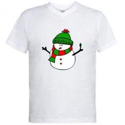 Мужская футболка  с V-образным вырезом Снеговик - FatLine