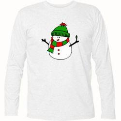 Футболка с длинным рукавом Снеговик - FatLine