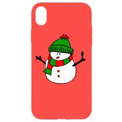 Чехол для iPhone XR Снеговик