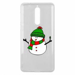 Чехол для Nokia 8 Снеговик - FatLine