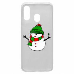 Чехол для Samsung A40 Снеговик
