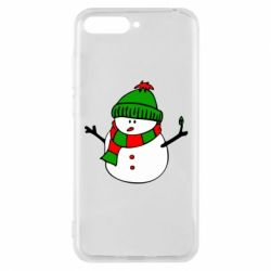 Чехол для Huawei Y6 2018 Снеговик - FatLine
