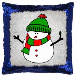 Подушка-хамелеон Снеговик