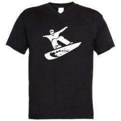 Мужская футболка  с V-образным вырезом Snow Board - FatLine