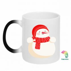 Кружка-хамелеон Snowman in red hat