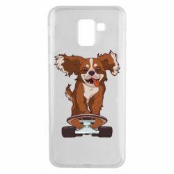 Чехол для Samsung J6 Собака Кавалер на Скейте