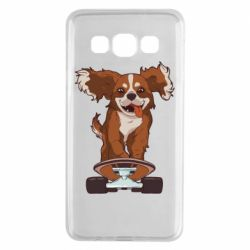 Чехол для Samsung A3 2015 Собака Кавалер на Скейте