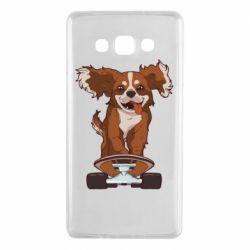 Чехол для Samsung A7 2015 Собака Кавалер на Скейте